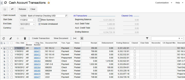 Acumatica Cloud ERP Cash Management Module