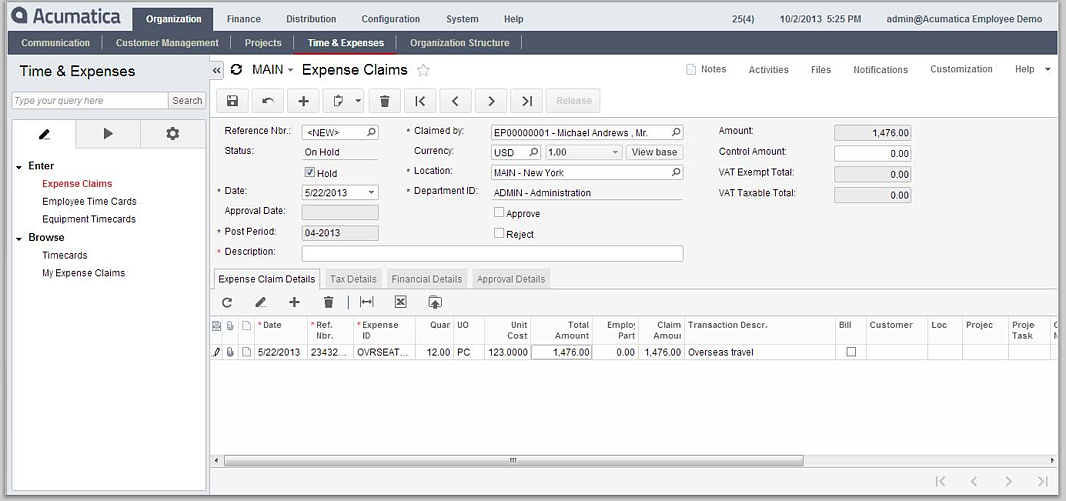 Expense Claim Reporting for Acumatica Cloud ERP's Financial Management Module