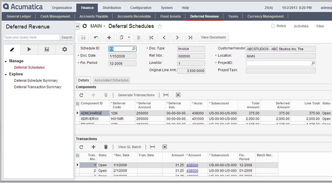 Acumatica Cloud ERP Deferred Revenue Mangement Module Schedules