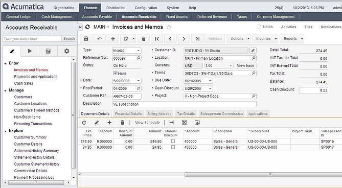 Acumatica Cloud ERP Deferred Revenue Management Module Memo & Invoice