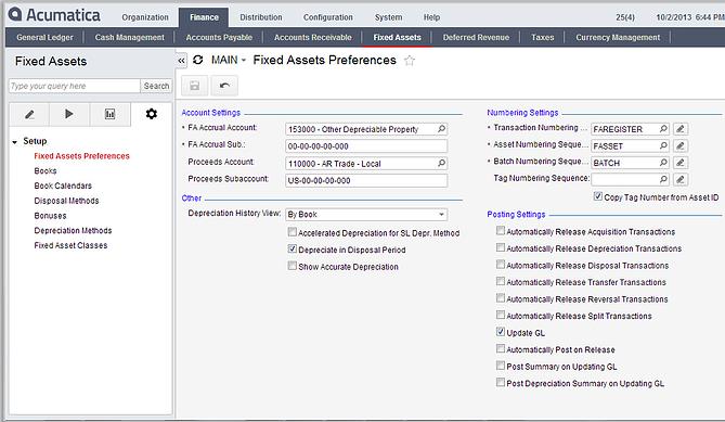 Acumatica Cloud ERP Fixed Assets Preferences