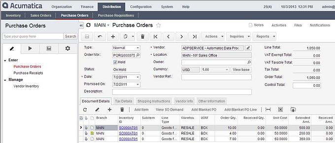 Purchase Order Module for Acumatica Cloud ERP's Distribution Management Suite