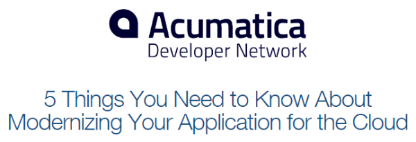 Acumatica Cloud ERP Modern Web Mobile Developer